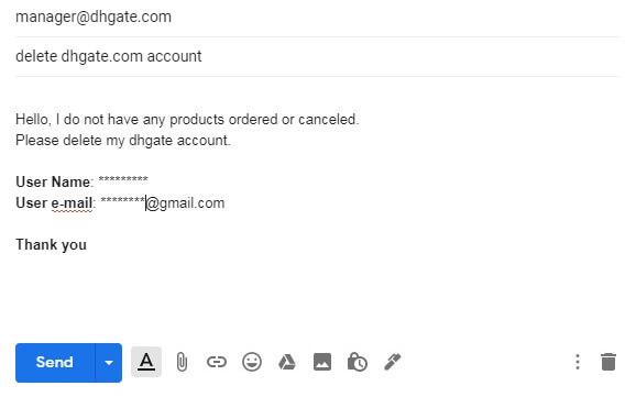 как удалить учетную запись dhgate