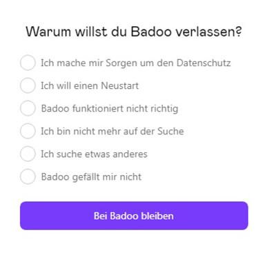 Badoo-Konto löschen