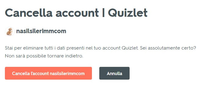 Cancellazione Account Quizlet