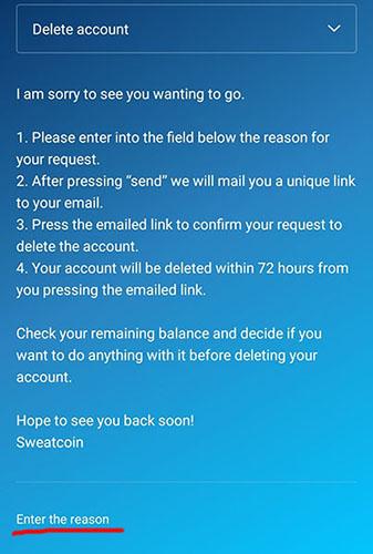 Cancellazione Account Sweatcoin
