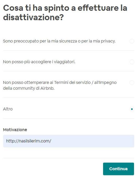 Cancellazione Dell'account Airbnb