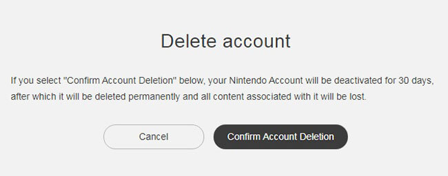 Cancellazione Dell'account Nintendo