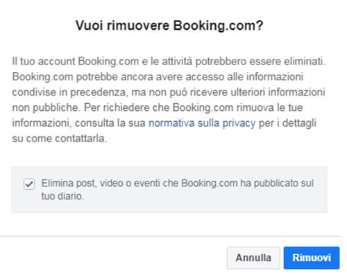 Chiudi account di Booking