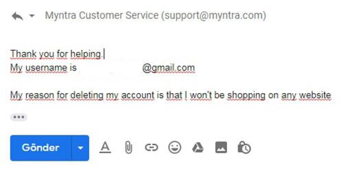 Chiusura dell'account Myntra