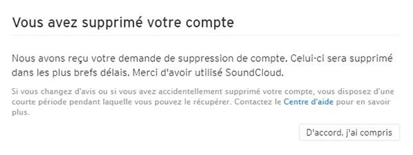 Clôture du compte Soundcloud