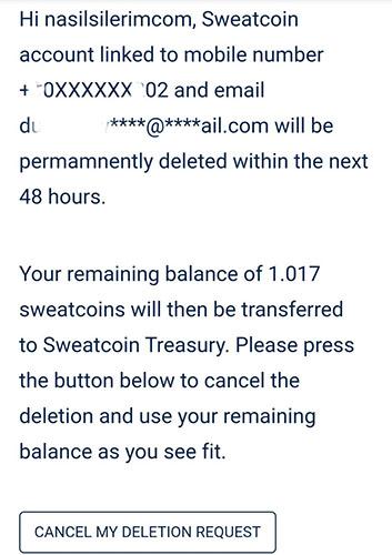 Clôture du compte Sweatcoin