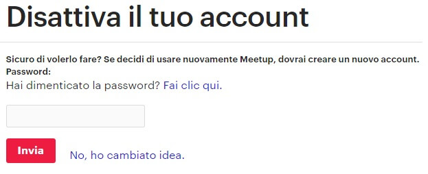 Come Eliminare Account Meetup