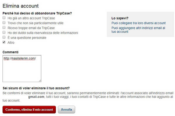 Come Eliminare Un Account Tripcase