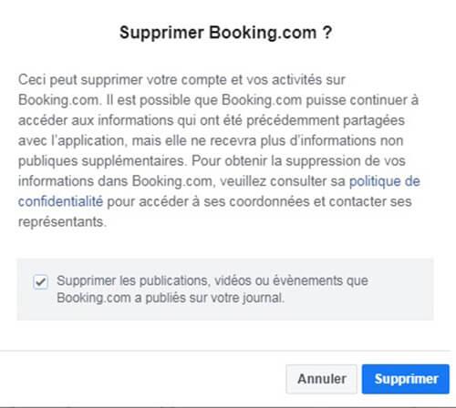 Compte de Booking Fermer