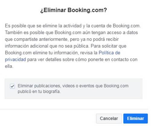 Cuenta de Booking Cerrar