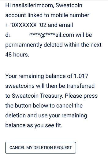 Delete Sweatcoin membership