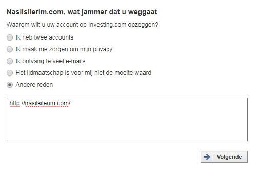 Een Investing.com Account Verwijderen