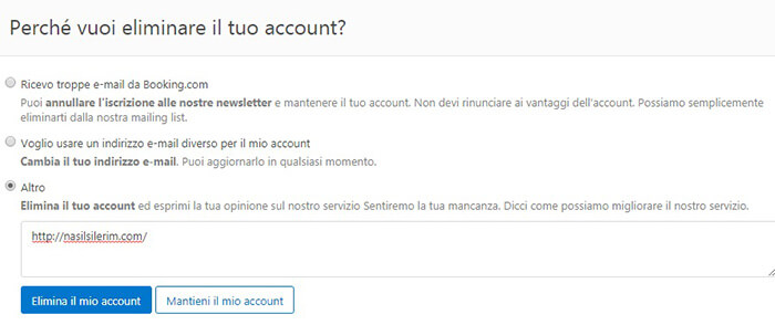 Elimina l'account Booking