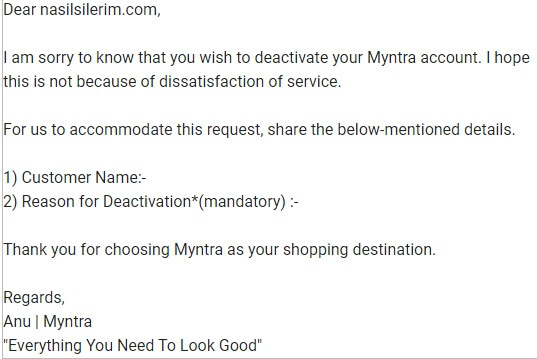Excluir conta Myntra