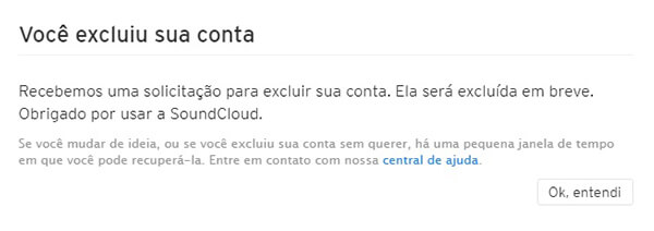 Excluir conta do Soundcloud