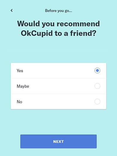 Exclusão da conta OkCupid