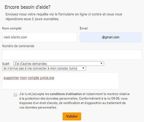 Fermer le compte jumia.com pour le Maroc