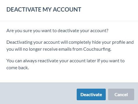 Hoe een Couchsurfing account te verwijderen