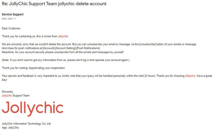 Jollychic Account Deletion