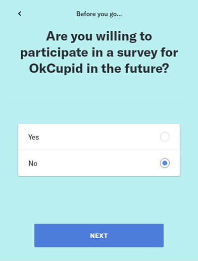 Link de exclusão da conta OkCupid