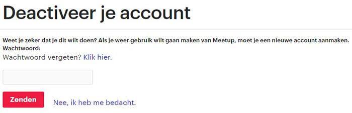 Meetup Account Verwijderen