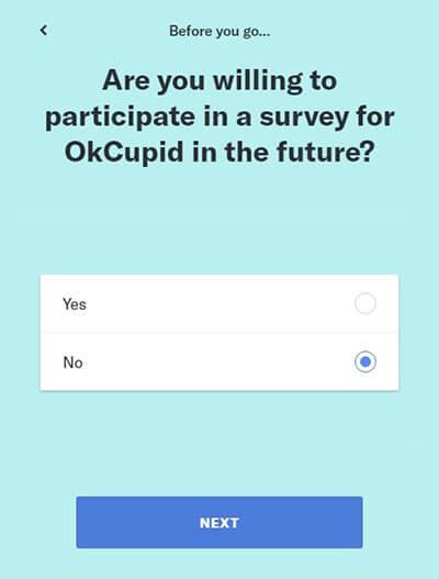 OkCupid-Link zum Löschen eines Kontos