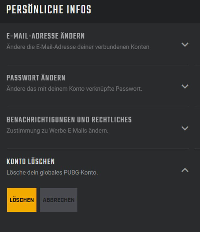 PUBG-Konto Löschen
