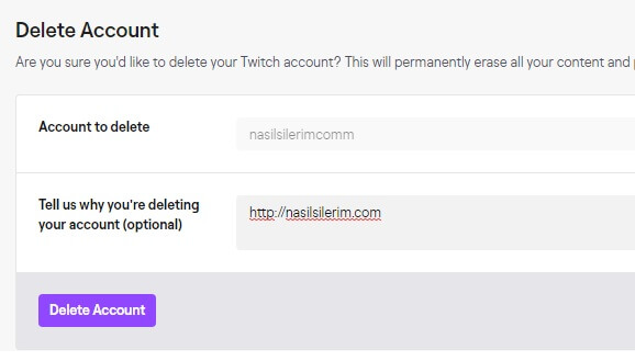 Permanent Deletion of Twitch Account