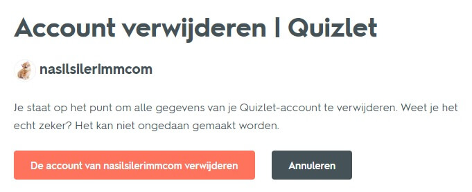 Quizlet Account Verwijderen
