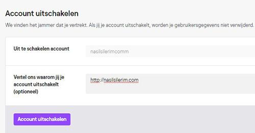 Schakel Twitch Account Uit