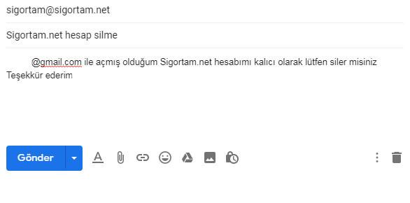 Sigortam Net Hesap Kapatma