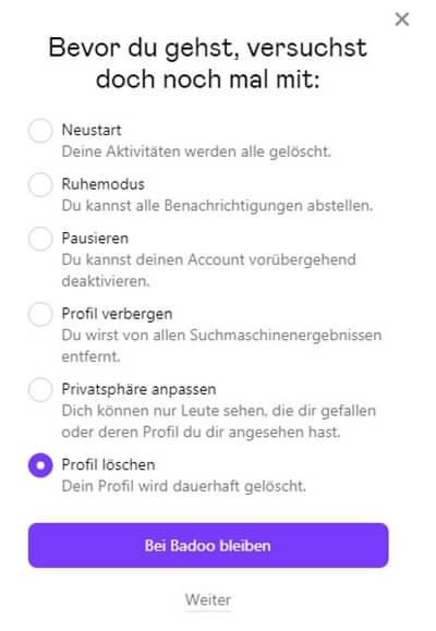 Profil nicht geht badoo löschen Badoo account
