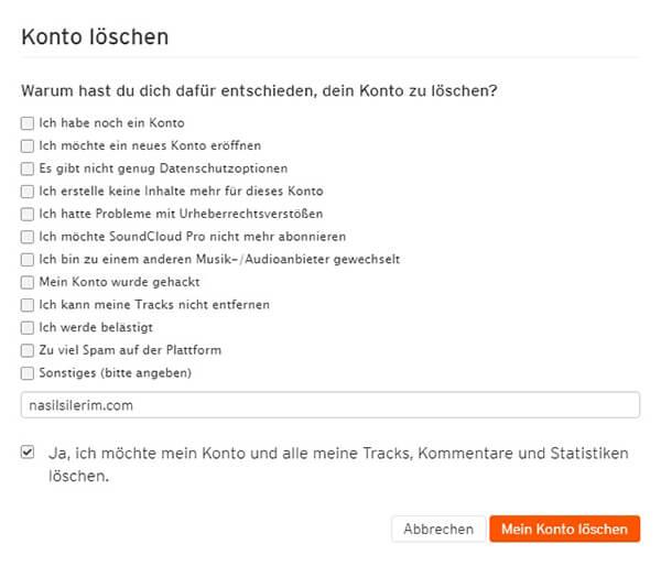 Soundcloud Konto löschen
