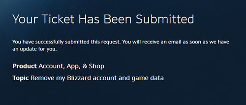 Suppression du compte de jeu Blizzard