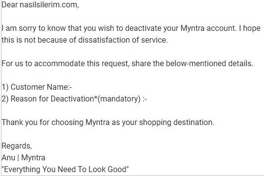 Supprimer le compte Myntra