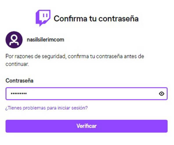 Twitch de la cuenta de borrado