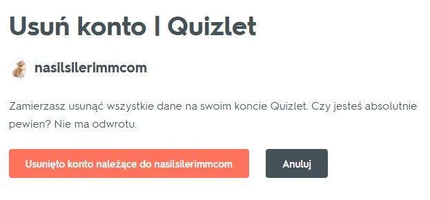 Usuwanie konta Quizlet