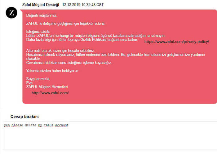 Zaful.com Hesap Silme