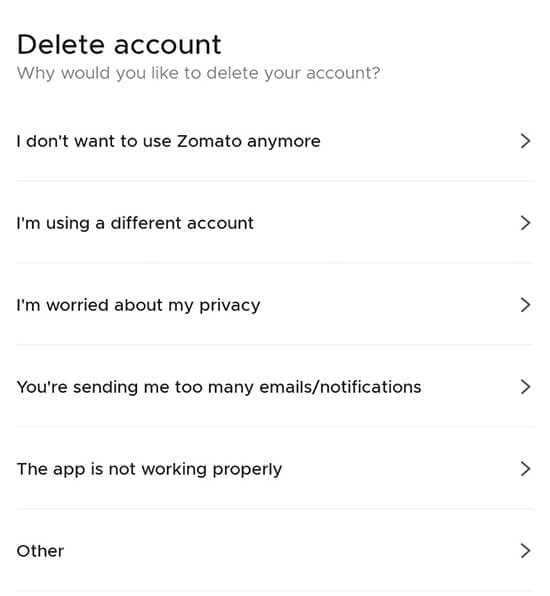 Zomato Account Deletion
