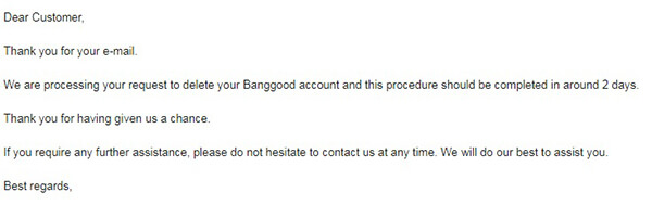 cancellazione dell'account banggood
