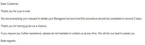 cancellazione dell'account banggood