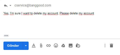 chiusura del conto banggood