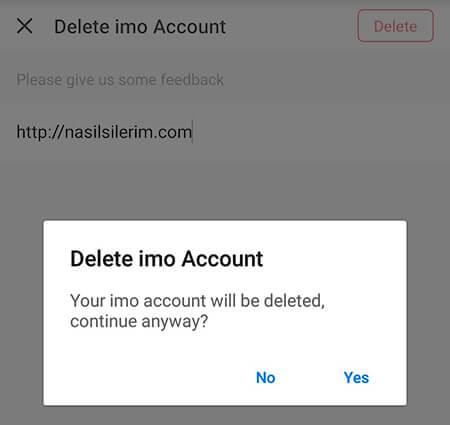 come eliminare un account imo