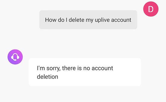 cómo eliminar la cuenta de uplive