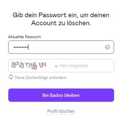 dauerhafte löschung von badoo account