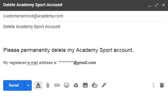 delete academy sport outdoors account