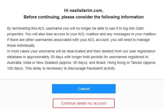 delete aol mail