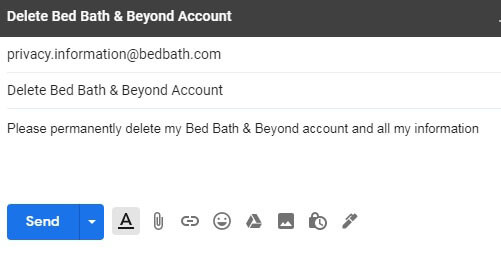 delete bed bath & beyond account