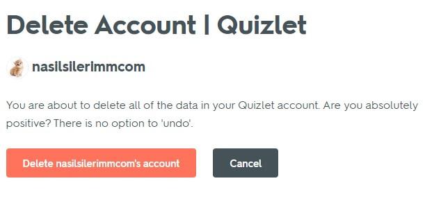 Delete Quizlet Account
