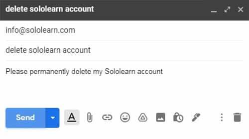 delete sololearn account